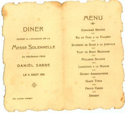 Franstalige menukaart 1921