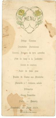 Franstalige menukaart 1912