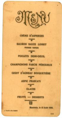 Franstalige menukaart 1926
