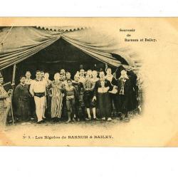 Postkaart met de komieken van het Barnum en Bailey circus