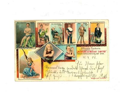 Officiële postkaart van het Barnum en Bailey circus met artiesten (1)