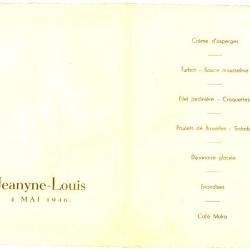Franstalige menukaart 1946
