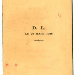 Franstalige menukaart 1938