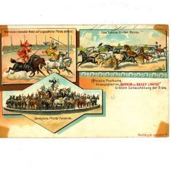 Officiële postkaart van het Barnum en Bailey circus met paarden