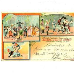 Officiële postkaart van het Barnum en Bailey circus met clowns