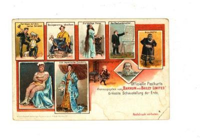 Officiële postkaart van het Barnum en Bailey circus met artiesten