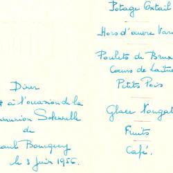 Franstalige menukaart Plechtige Communie 1956