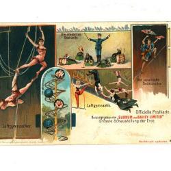 Officiële postkaart van het Barnum en Bailey circus met gymnasten