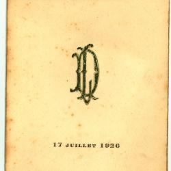 Franstalige menukaart 1926 (2)