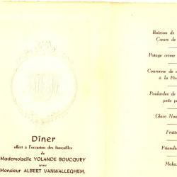 Franstalige menukaart Verloving