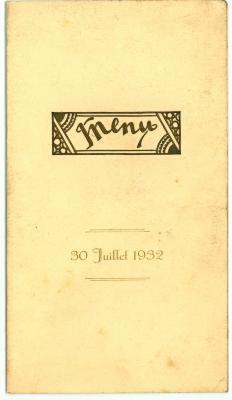 Franstalige menukaart Huwelijk 1932