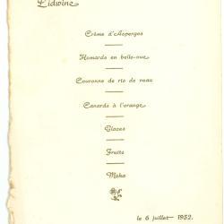 Franstalige menukaart 1952