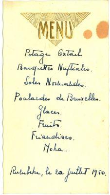 Franstalige menukaart 1950