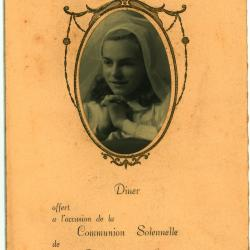 Franstalige menukaart Plechtige Communie 1945