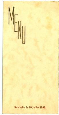Franstalige menukaart Plechtige Communie 1938