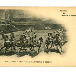 Postkaart met Romeinse strijdwagens bij Barnum en Bailey circus