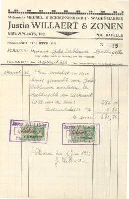 Factuur Willaert, 1939