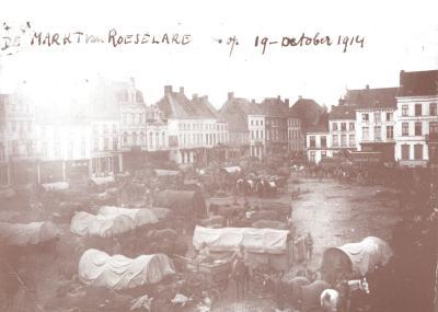 Duitse bevoorradingscolonne op Grote Markt, Roeselare 19 oktober 1914