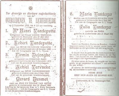 Bidprentje overledenen in Lichtervelde op 6 september 1915