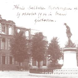 Uitgebrand woonhuis dr. Delbeke-Moerman, Roeselare 19 oktober 1914