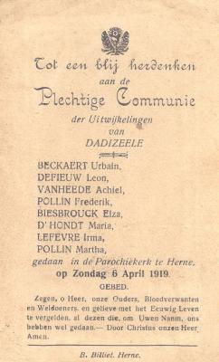 Herdenking aan Plechtige Communie van vluchtelingen, Herne 6 april 1919