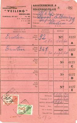 Aanvoerbewijs en rekeningopgave samenwerkende vennootschap cooperatieve Veling , Roeselare, 1946