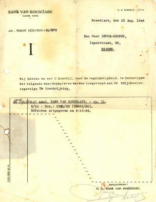 Een schrijven van de NV Bank van Roeselare, Roeselare, 1946