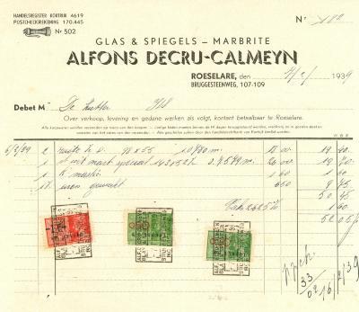 Factuur van Alfons Decru-Calmeyn , Roeselare, 1939