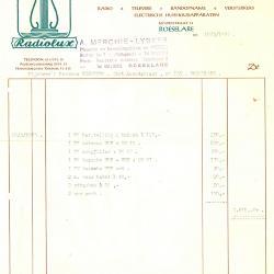 Factuur van Arsène Merchie-Lybeer, Roeselare, 1965