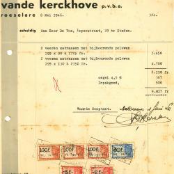 Factuur van p.v.b.a. meubeleering vande Kerckhove, Roeselare, 1946