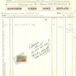 Factuur van Omer Van Eeckhout - Wullepit,  Roeselare, 1954