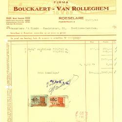 Factuur van de firma Bouckaert-Van Rolleghem, Roeselare, 1949
