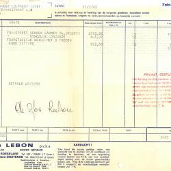 Factuur van de pvba Ets Joseph Lebon, Roeselare, 1969