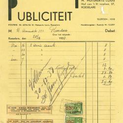 Factuur van Publiciteit M. Mutsaerts Louis , Roeselare, 1939
