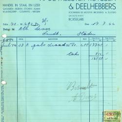 Factuur van A. Demeester-Ruyssen & Deelhebbers, Roeselare, 1944 en 1946