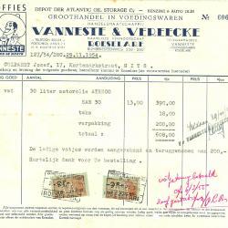 Factuur van handelsmaatschappij Vanneste & Vereecke,  Roeselare, 1954