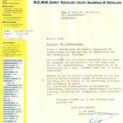 Een schrijven van het Nationaal Christelijk Middenstandsverbond, Roeselare, 1959