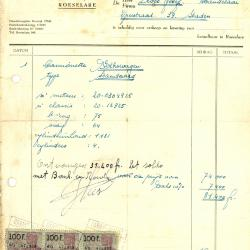 Factuur van de garage Gerard Lust, Roeselare, 1951
