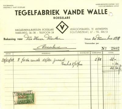 Factuur van Tegelfabriek Vande Walle , Roeselare, 1938