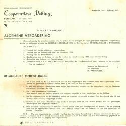Uitnodiging tot de statutaire vergadering van de cooperatieve Veiling, Roeselare, 1951