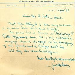 Een schrijven van patissier Julien De Man, Roeselare, 1958