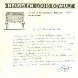 Een schrijven van meubelen Louis Dewulf, Roeselare, 1958