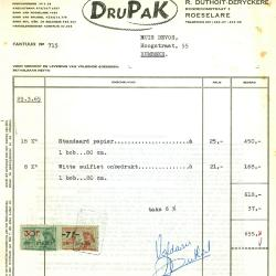 Factuur van wasindustriedrukkerij DruPak, Roeselare, 1965