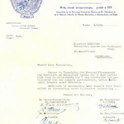 Een schrijven van de Vereniging der Meester-Kleermakers, Roeselare, 1959