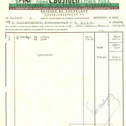 Factuur van pvba C. Bostoen & Zonen, Roeselare, 1960