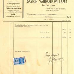 Factuur van Gaston Vandaele-Willaert , Roeselare, 1939
