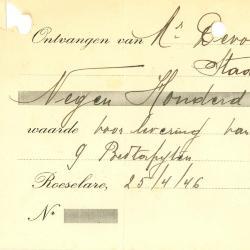Ontvangstbewijs van de firma Bouckaert-Van Rolleghem, Roeselare, 1946