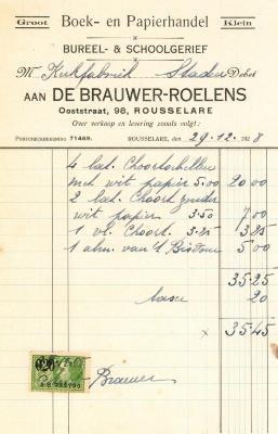 Factuur van boek- en papierhandel De Brauwer-Roelens, Roeselare, 1928