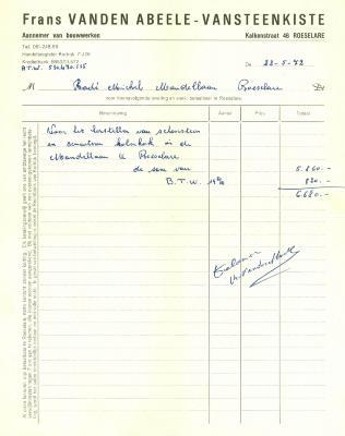 Factuur van Frans Vanden Abeele-Vansteenkiste, Roeselare, 1972