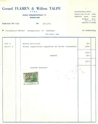 Factuur van Gerard Flamen & Willem Talpe, Roeselare, 1965